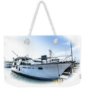 Wooden Yacht In Mooring Weekender Tote Bag