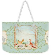 Woodland Fairy Tale - Aqua Blue Forest Gathering Of Woodland Animals Weekender Tote Bag
