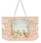 Woodland Fairy Tale - Blush Pink Forest Gathering Of Woodland Animals Weekender Tote Bag