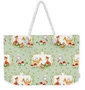 Woodland Fairy Tale - Mint Green Sweet Animals Fox Deer Rabbit Owl - Half Drop Repeat Weekender Tote Bag
