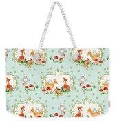 Woodland Fairy Tale - Sweet Animals Fox Deer Rabbit Owl - Half Drop Repeat Weekender Tote Bag