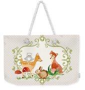 Woodland Fairytale - Grey Animals Deer Owl Fox Bunny N Mushrooms Weekender Tote Bag