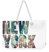 Word Usa Manhattan Skyline At Sunset, New York City  Weekender Tote Bag
