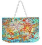 Work 00099 Abstraction In Cyan, Blue, Orange, Red Weekender Tote Bag by Alex Hall