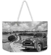 Down On The Farm- International Harvester In Black And White Weekender Tote Bag