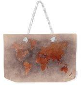 World Map Brown Weekender Tote Bag