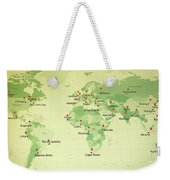 World Map Countries Cities Straight Pin Vintage Weekender Tote Bag