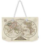 World Map In Two Hemispheres Weekender Tote Bag
