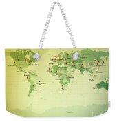 World Map Miller Cities Straight Pin Vintage Weekender Tote Bag