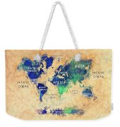 World Map Oceans And Continents Art Weekender Tote Bag