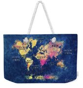 World Map Oceans And Continents Weekender Tote Bag