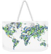 World Map Organic Green And Blue Weekender Tote Bag