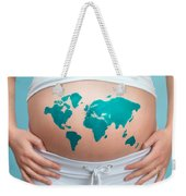 World Map Painted On Pregnant Woman's Belly Weekender Tote Bag