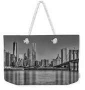 World Trade Center And The Brooklyn Bridge Bw Weekender Tote Bag