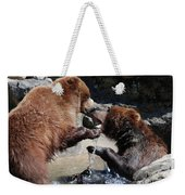 Wrestling Grizzly Bears In A Shallow River Weekender Tote Bag