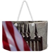 Wrought Iron And American Flag Weekender Tote Bag