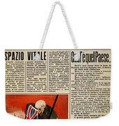 Wwii: Italian Newspaper Weekender Tote Bag
