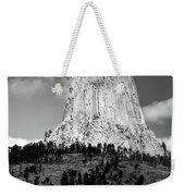 Wyoming Devils Tower National Monument With Climbers Bw Weekender Tote Bag