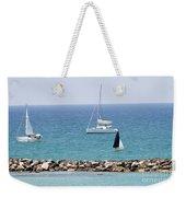 yacht sailing in the Mediterranean sea Weekender Tote Bag