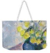Yello Flowers In Blue Vaze Weekender Tote Bag