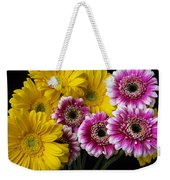 Yellow And Pink Gerbera Daisies Weekender Tote Bag
