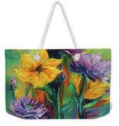 Yellow And Purple Flowers Weekender Tote Bag