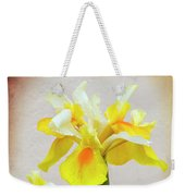 Yellow And White Iris Textured Weekender Tote Bag
