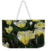 Yellow And White Tulips Flowering In A Garden Weekender Tote Bag