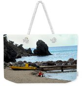 Yellow Boat On The Beach Weekender Tote Bag