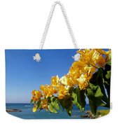 Yellow Bougainvillea Over The Mediterranean On The Island Of Cyprus Weekender Tote Bag