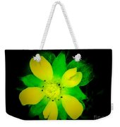 Yellow Buttercup On Black Background Weekender Tote Bag