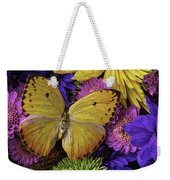 Yellow Butterfly On Bouquet Weekender Tote Bag
