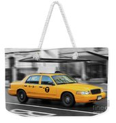 Yellow Cab In Manhattan In A Rainy Day. Weekender Tote Bag