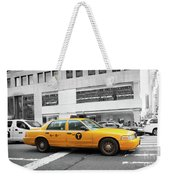 Yellow Cab In Manhattan With Black And White Background Weekender Tote Bag