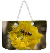 Yellow Cactus Flower With Wasp Weekender Tote Bag