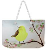 Yellow Chickadee On A Branch Weekender Tote Bag