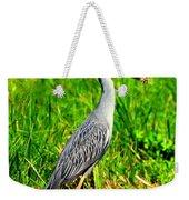 Yellow Crested Night Heron Catches A Fiddler Crab Weekender Tote Bag