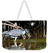 Yellow Crowned Night Heron Catches A Crab Weekender Tote Bag