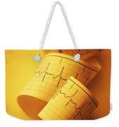 Yellow Ekg Weekender Tote Bag