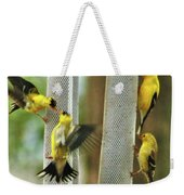 Yellow Finch Feeding Frenzy Weekender Tote Bag