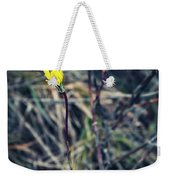 Yellow Flower In Dry Autumn Grass Weekender Tote Bag