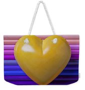 Yellow Heart On Row Of Colored Pencils Weekender Tote Bag