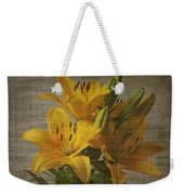 Yellow Lilies With Old Canvas Texture Background Weekender Tote Bag