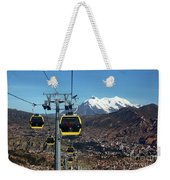 Yellow Line Cable Cars And Mt Illimani La Paz Bolivia Weekender Tote Bag