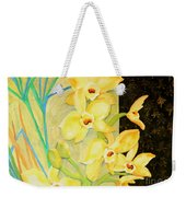 Yellow Orchids With Black Screen Weekender Tote Bag