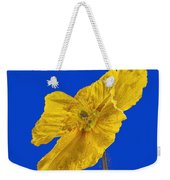 Yellow Poppy On Blue Background Weekender Tote Bag