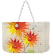 Yellow Red Floral Illustration Weekender Tote Bag
