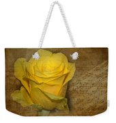 Yellow Rose With Old Notes Paper On The Background Weekender Tote Bag