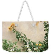 Yellow Roses And Tiny Window At Carmel Mission Weekender Tote Bag