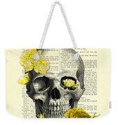 Skull With Yellow Roses Dictionary Art Print Weekender Tote Bag